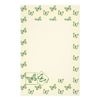 Butterflies Green Personalised Stationery