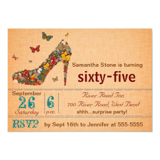 Butterflies High Heel 65th Birthday Invite
