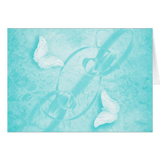 butterflies in abstract blue horizontal card