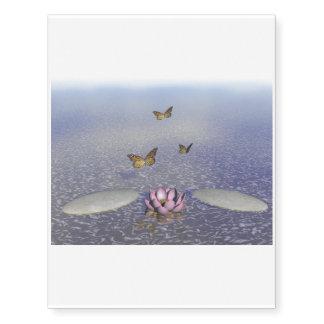 Butterflies in flight in a Zen landscape