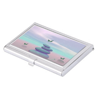 Butterflies in flight in a Zen landscape Business Card Holder