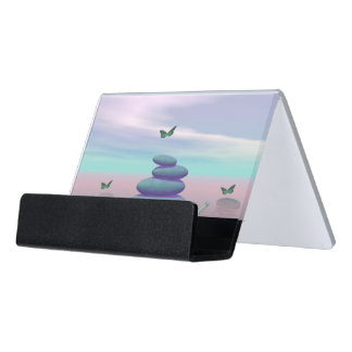 Butterflies in flight in a Zen landscape Desk Business Card Holder