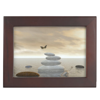 Butterflies in flight in a Zen landscape Keepsake Box