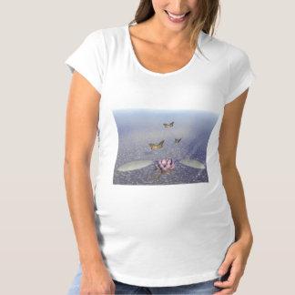 Butterflies in flight in a Zen landscape Maternity T-Shirt