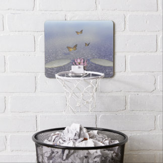 Butterflies in flight in a Zen landscape Mini Basketball Hoop
