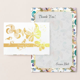 Butterflies in Gold Foil - Thank You Monogram Note Foil Card