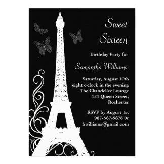Butterflies in Paris Birthday Invite black