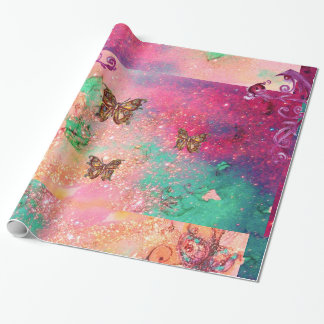 BUTTERFLIES IN PINK SPARKLES-MAGIC BUTTERFLY PLANT GIFT WRAPPING PAPER