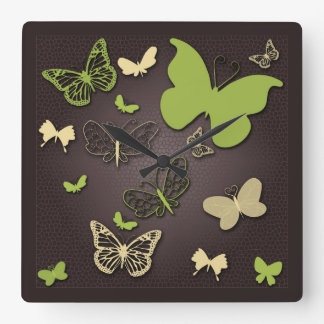 Butterflies in Warm Earth Tones Wall Clock