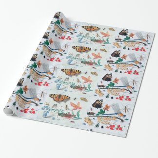 BUTTERFLIES ,INSECTS , FLOWERS AND PLANTS WRAPPING PAPER