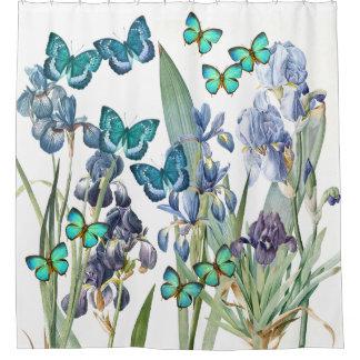 Butterflies & Iris Flowers Garden Shower Curtain