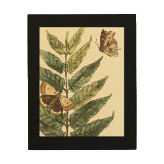 Butterflies & Leaves with Black Frame Wood Wall Decor