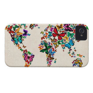 Butterflies Map of the World iPhone 4 Case-Mate Cases