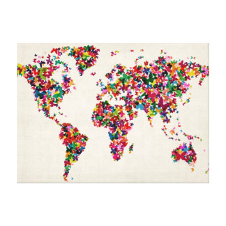 Butterflies Map of the World Map Canvas Print