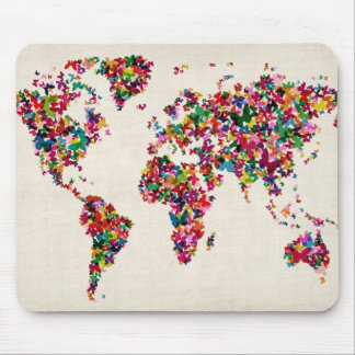 Butterflies Map of the World Map Mouse Pad
