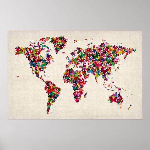 Butterflies Map of the World Map Print