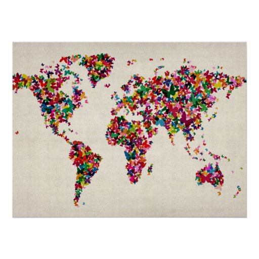Butterflies Map of the World Map Posters