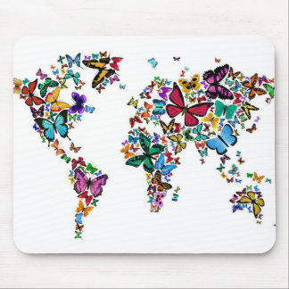 Butterflies Map of the World Mouse Pad