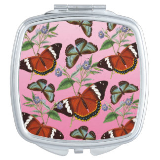 butterflies mix pink travel mirror