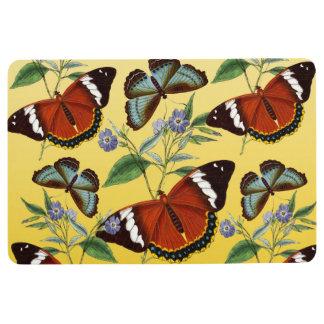 butterflies mix yellow floor mat
