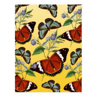 butterflies mix yellow postcard
