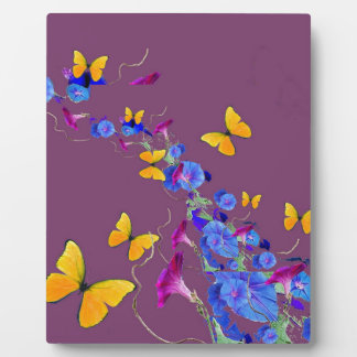 Butterflies,Morning Glories Puce Pillow by Sharles Display Plaques