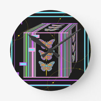 Butterflies Morphing Box Design by Sharles Round Clock