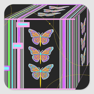 Butterflies Morphing Box Design by Sharles Square Stickers