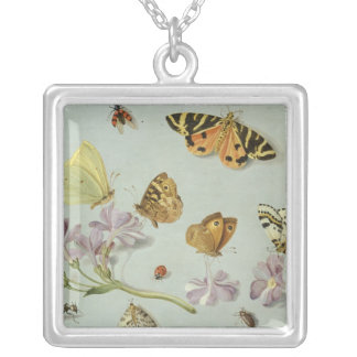Butterflies, moths and other insects silver plated necklace