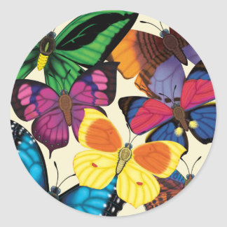 Butterflies of the World Classic Round Sticker