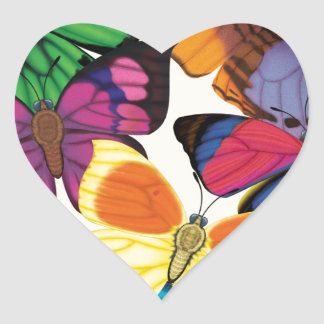 Butterflies of the World Heart Sticker