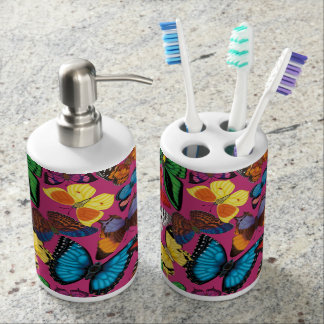Butterflies of the World Soap Dispenser And Toothbrush Holder