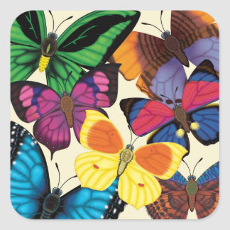 Butterflies of the World Square Sticker
