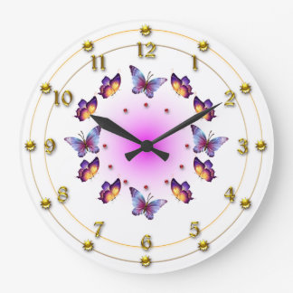 Butterflies on Graduated Cream and Pink Clocks