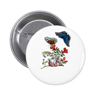 Butterflies on pomegranate 6 cm round badge