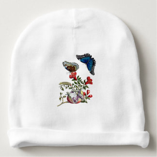 Butterflies on pomegranate baby beanie