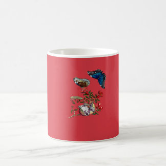 Butterflies on pomegranate coffee mug