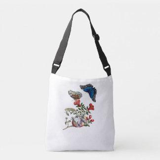 Butterflies on pomegranate crossbody bag