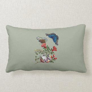 Butterflies on pomegranate lumbar cushion