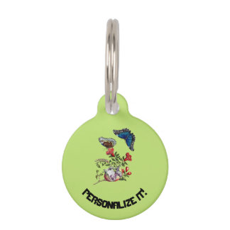 Butterflies on pomegranate pet name tag