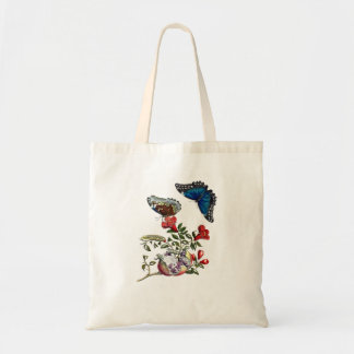 Butterflies on pomegranate tote bag