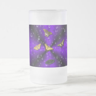 Butterflies on purple rainbow frosted glass beer mug
