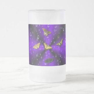 Butterflies on purple rainbow frosted glass mug