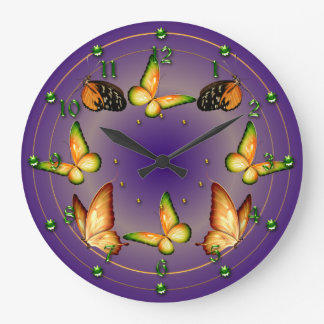 Butterflies on Rich Purple Clock