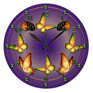 Butterflies on Rich Purple Wallclock
