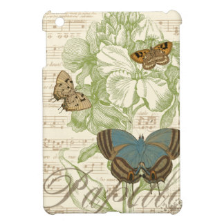 Butterflies on Sheet Music with Floral Design iPad Mini Cases