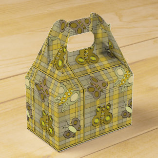 Butterflies On Yellow Plaid Design Favor Box
