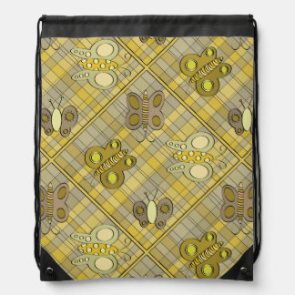 Butterflies On Yellow Plaid Drawstring Backpack