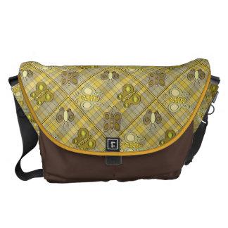 Butterflies On Yellow Plaid Messenger Bag