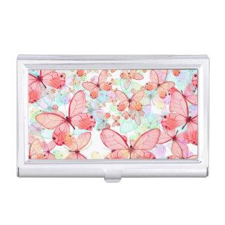 Butterflies Pastel Mauve Mint Green Aqua Cream Case For Business Cards